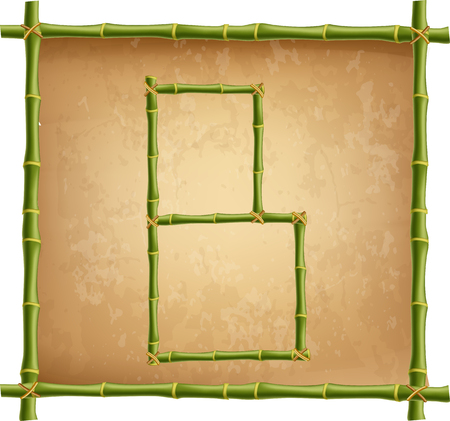 Vector bamboo alphabet. Capital letter B made of realistic green bamboo sticks poles on old paper, papyrus, parchment or canvas background. Abc concept for creating words, text, advertising, message.