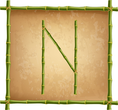 Vector bamboo alphabet. Capital letter N made of realistic green bamboo sticks poles on old paper, papyrus, parchment or canvas background. Abc concept for creating words, text, advertising, message.