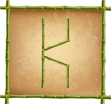 Vector bamboo alphabet. Capital letter K made of realistic green bamboo sticks poles on old paper, papyrus, parchment or canvas background. Abc concept for creating words, text, advertising, message.