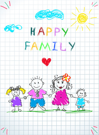 Happy Family Holding Hands Baby Drawing on Checkered Sheet. Doodle Picture of Mother, Father, Daughter and Son Stand on Grass under Clouds and Sun. Kindergarten. Cartoon Hand Drawn Vector Illustration