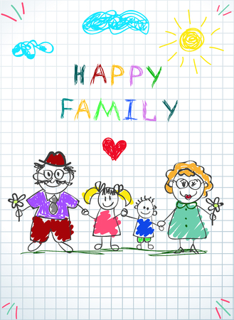 Happy Family Kids Picture of Little Boy and Girl Holding Hands of Adult People Man and Woman Under Clouds and Sun on Checkered Sheet Background. Doodle Style. Cartoon Hand Drawn Vector Illustration.