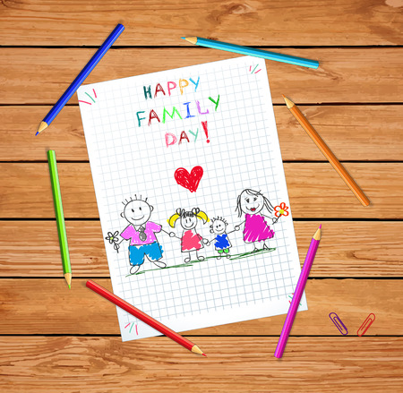 Happy Family Day Greeting Card. Perfect Loving Family Holding Hands, Adopted or Native Children Being Supported by Loving Parents. Mom, Dad, Son and Daughter. Cartoon Hand Drawn Vector Illustration.
