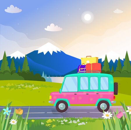 Funny Colorful Car with Trunk and Luggage on Roof Going by Road at Beautiful Nature Background with Mountains Landscape, Lake and Pine Trees. Traveling, Vacation. Cartoon Flat Vector Illustration. Çizim