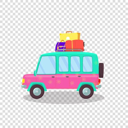 Rosa, grünes modernes Auto mit geräumigem Kofferraum und Gepäck auf dem Dach lokalisiert auf transparentem Hintergrund. Seitenansicht des Schrägheck-Autos für Familienreisen. Cartoon-flache Vektor-Illustration. ClipArt, Symbol.