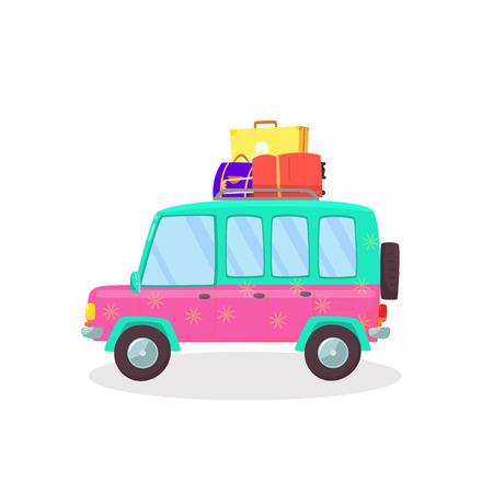 Valigie e borse nel bagagliaio dell'auto pronte a partire per vacanze, attività all'aperto, viaggi, viaggi. Vista laterale della berlina isolata su sfondo bianco. In viaggio. Piatto di vettore del fumetto. ClipArt. Vettoriali