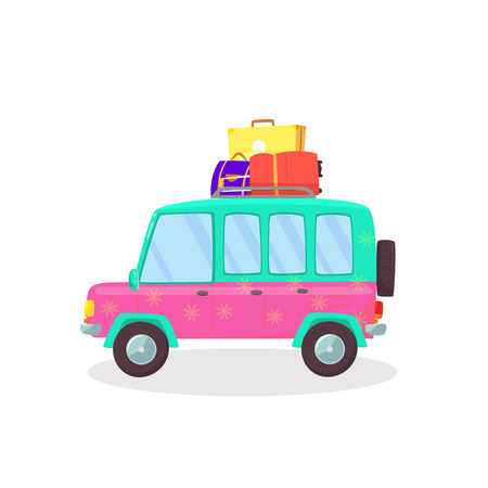 Valises et sacs dans le coffre de la voiture prêt à partir pour les vacances, l'extérieur, les voyages, les voyages. Vue latérale du hayon isolé sur fond blanc. En voyageant. Illustration vectorielle plane de dessin animé. Clipart. Vecteurs