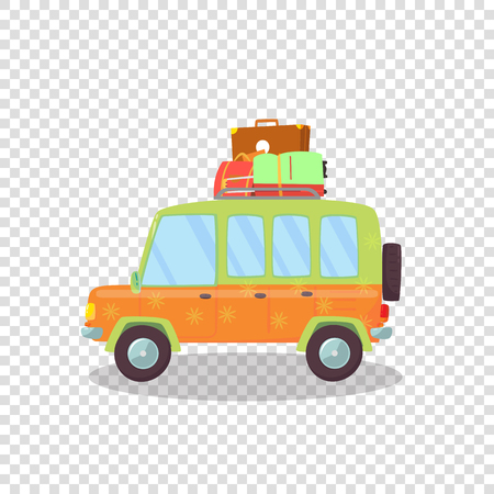 Colored Modern Car with Luggage on Roof Isolated on Transparent Background. Side View of Comfortable Hatchback Automobile for Family Traveling. Trip. Cartoon Flat Vector Illustration. Clip Art, Icon. Zdjęcie Seryjne - 124155560