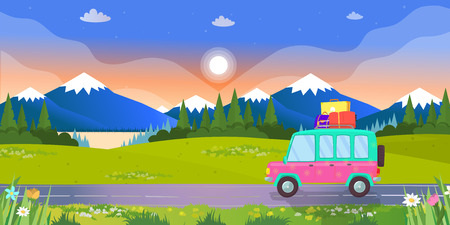 Hatchback Car with Suitcases on Roof Driving by Road on Colorful Landscape Background with Mountains, Lake and Forest in Sunset or Sunrise Summertime. Family Traveling Cartoon Flat Vector Illustration
