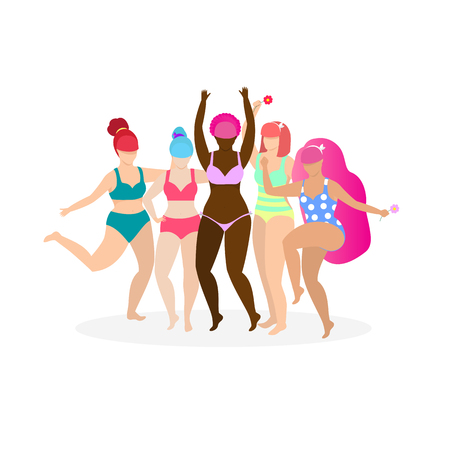 Company of Happy Multiracial and Multicultural Female Characters Stand in Swim Suits with Flowers in Hands and Hugging on White Background. Girl Power, Bodypositive. Cartoon Flat Vector Illustration.