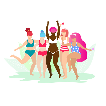 Friendship, Diverse, Body Positive and People Concept. Group of Happy Different Age and Ethnicity Women in Swimwear Hugging on White Background with Leaves. Cartoon Flat Vector Illustration. Clip Art. Vectores