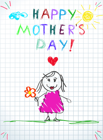 Happy Mothers Day Greeting Card. Baby Drawing Illustration with Hand Drawn Mom in Pink Dress Hold Flower Stand on Green Grass on Checkered Paper. Baby Congratulation Cartoon Doodle Vector Illustration