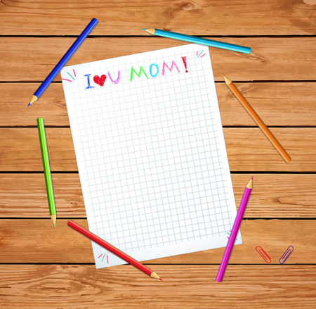I Love You Mom. Happy Mothers Day Sketchy Typography on Notebook Sheet Background with Copy Space. Kids Congratulations Hand Written Lettering Element for Greeting Card, Invitation Illustration