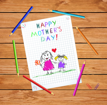 Happy Mothers Day Baby Hand Drawn Illustration of Mother Hold Hands with Daughter on Checked Paper Sheet or Graphing Paper on Wooden Tabel with Colored Pencils. Kindergarten Kids Greeting Card