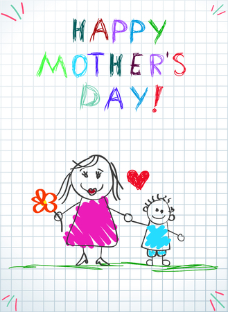 Happy Mothers Day Greeting Card. Mom Holding Hands with Little Son Outdoors, Baby Drawing Holiday Illustration on Checkered Paper Background. Baby Congratulation Cartoon Doodle Illustration Zdjęcie Seryjne