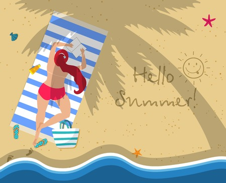 Top View of Young Woman in Red Topless Bikini Lying on Beach Towel Under Palm Tree. Flip Flops, Footprint, Wavy Sea Side. Hello Summer, Attractive Girl Cartoon Flat Vector Illustration, Banner.