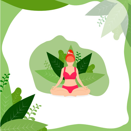 Yoga Girl Meditate Outdoor in Lotus Position on White Background with Green Leaves Frame. Woman Practicing Yoga. Padmasana Yoga Pose for Relax and Meditation. Cartoon Flat Vector Illustration, Icon