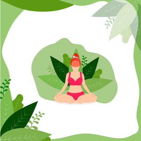 Yoga ragazza meditare all'aperto nella posizione del loto su sfondo bianco con cornice di foglie verdi. Donna che pratica yoga. Posizione Yoga Padmasana per rilassarsi e meditare. Cartoon piatto illustrazione vettoriale, Icon