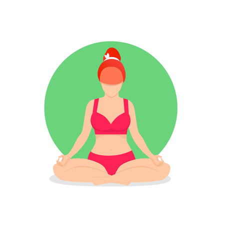 Yoga Girl Meditate in Lotus Position Isolated on White Background. Practicing Yoga Woman with Legs Crossed in Padmasana Yoga Pose for Relaxation and Meditation. Cartoon Flat Vector Illustration, Icon Vettoriali