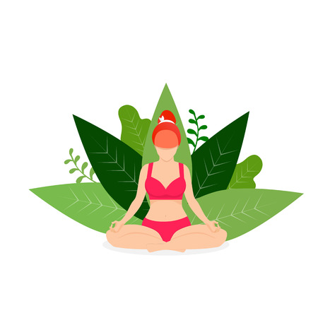 Yoga Girl Meditate in Park Lotus Position on White Background with Green Leaves. Woman Practicing Yoga Outdoors. Padmasana Yoga Pose for Relaxation and Meditation. Cartoon Flat Vector Illustration, Ic