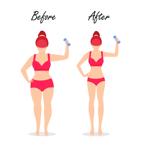 Fat Slim Woman Figure Weight Loss Set. Before After Fit Girl with Dumbbell Body Isolated White Background. Healthy Vs Unhealthy People Lifestyle Obesity, Fitness, Diet Cartoon Flat Vector Illustration Illustration