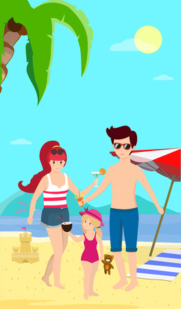 Happy Family at Beach. Smiling Parents with Child Stand on Sand Enjoy Cocktails on Seaside Background with Dolphins, Palms, Umbrella and Sand Castle. Cartoon Flat Vector Illustration, Vertical Banner 向量圖像
