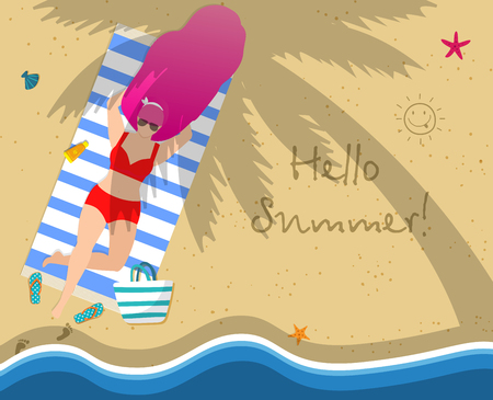 Woman on Beach. Girl in Red Swimwear Relaxing Lying on Towel at Seaside under Palm Tree. Hello Summer Typography, Leisure, Tanning, Sparetime Relaxation Cartoon Flat Vector Illustration, Square Banner