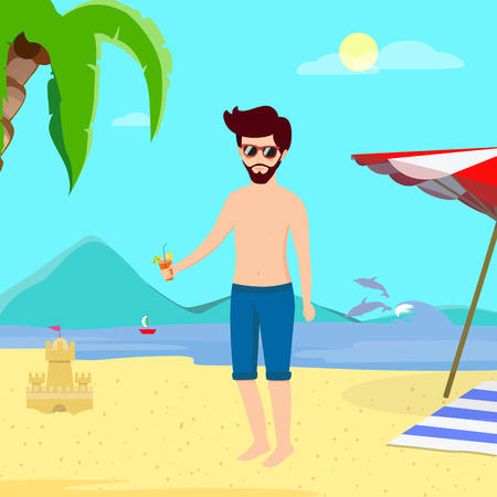 Man on Beach Summer Time Vacation. Young Handsome Hipster in Blue Swimsuit Drinking Cocktail on Summer Sandy Sea Beach Background with Dolphins, Sand Castle and Palms Cartoon Flat  Illustration. Banco de Imagens