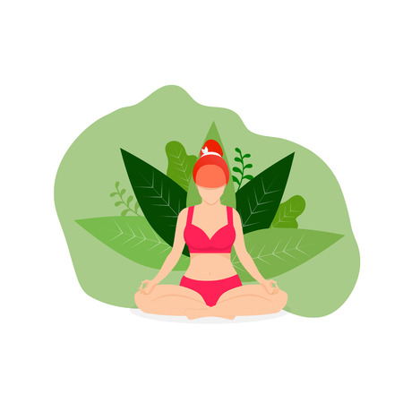 Yoga Girl Meditate Outdoor in Park in Lotus Position on White Background with Green Leaves. Woman Practicing Yoga. Padmasana Yoga Pose for Relax and Meditation. Cartoon Flat  Illustration, Icon