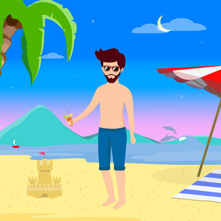 Man on Beach Summer Vacation Night Life. Young Handsome Hipster in Swimsuit Drink Cocktail on Summer Sandy Sea Beach Background with Dolphins, Sand Castle and Palms Cartoon Flat  Illustration.