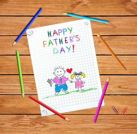 Happy Father Day Baby Hand Drawn Illustration of Dad Hold Hands with Daughter on Checked Paper Sheet or Graphing Paper on Wooden Table with Colored Pencils. Kindergarten Kids Greeting Card