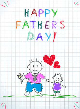Happy Fathers Day Greeting Card. Dad Holding Hand with Little Son Outdoors, Baby Drawing Holiday Illustration on Checkered Paper Background. Baby Congratulation Cartoon Doodle  Illustration Zdjęcie Seryjne