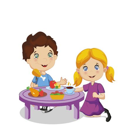 Kids Eating. Funny Smiling Cartoon Boy and Girl Sitting at Table with Healthy Food Eat Vegetables, Fruit Isolated on White Background, Kindergarten Meal Character Vector Illustration, Clip Art