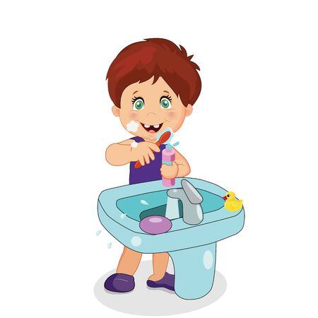 Boy Teeth Brushing, Toddler Character Brush Teeth at Sink in Bathroom Rubber Duck Isolated on White Background. Toothbrush and Paste in Hand. Kids Hygiene Cartoon Vector Illustration, Clip Art