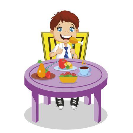 Chłopiec jedzenie. Zabawny uśmiechający się uczeń kreskówka z brązowymi włosami i niebieskimi oczami jeść Chiken siedzący przy stole z różnych warzyw, owoców żywności na białym tle na białym tle charakter ilustracji wektorowych Ilustracje wektorowe