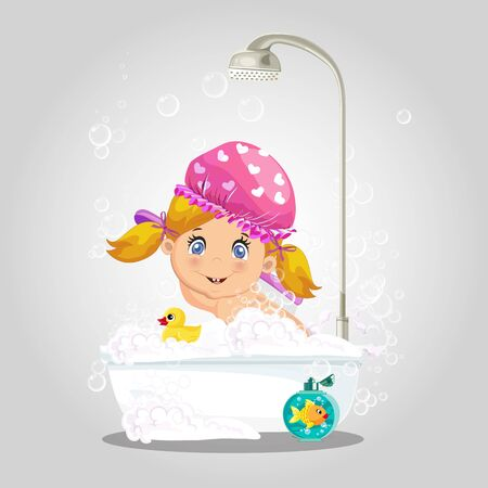 Baby in bath. Cute girl character in pink washing hat taking bubble bath with foam, playing with rubber duck and goldfish toys in bathroom isolated on gray background, cartoon vector illustration
