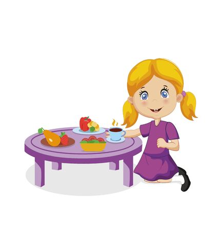 Little Girl Eating. Funny Smiling Cartoon Baby with Blonde Hair and Blue Eyes Eat Sitting at Table with Different Food Vegetable, Fruit Isolated on White Background Character  Illustration 版權商用圖片