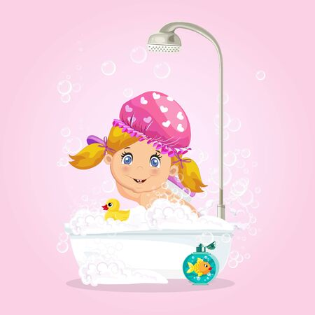 Baby in bath. Cute blonde girl character washing hat taking bubble bath with foam, playing with rubber duck and goldfish toys in bathroom isolated on pink background, cartoon  illustration