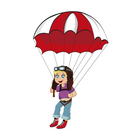 Skydiver Little Cute Boy Jumping with Parachute, Paragliding Boy in Pilot Hat and Glasses, Parachuting Sport, Extreme Isolated on White Background. Cartoon Flat  Illustration, Clip Art