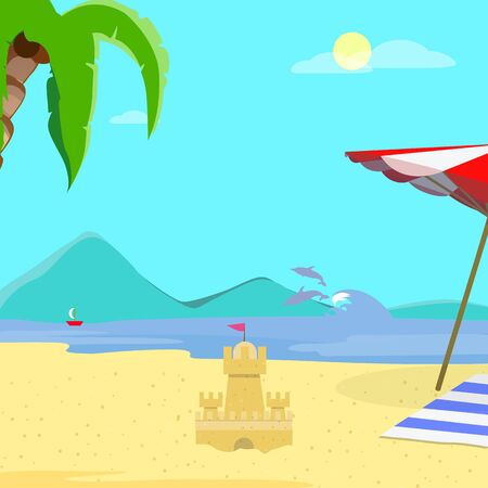 Summer Beach Background, Day Time Empty Landscape, Exotic Seaside with Sand Castle, Resort Coast Seascape, Palm Tree, Dolphins, Sailing Ship, Sandy Shore Flyer Cartoon Flat Vector Illustration, Banner