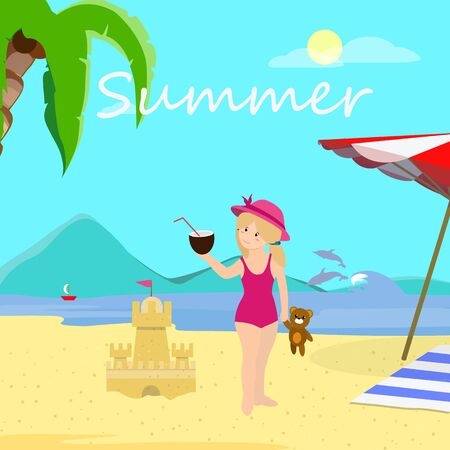 Little Girl on Beach Day Time, Vacation, Summer Time Traveling. Sea Coast Background with Palm and Dolphins. Cute Smiling Baby in Swimsuit Holding Coconut, Party. Cartoon Flat Vector Illustration