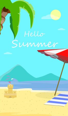 Hello Summer Beach Background with Seascape, Dolphins, Sun Umbrella, Towel and Sandy Castle. Traveling Greeting Card for Summertime Vacation, Holidays Cartoon Flat  Illustration, Flyer, Banner