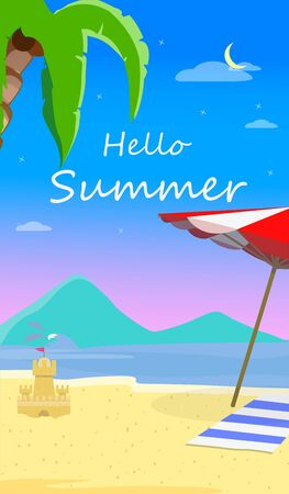Hello Summer Beach Background with Seascape, Dolphins, Sun Umbrella, Towel and Sandy Castle. Traveling Greeting Card for Summertime Vacation, Holidays Cartoon Flat  Illustration, Banner, Flyer Stock Photo