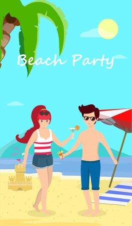 Happy Couple at Beach Party. Smiling Man and Woman Stand on Sand Enjoy Cocktail on Seaside Background with Dolphins, Palms, Umbrella and Sand Castle. Honeymoon Cartoon Flat  Illustration, Banner Stock Photo