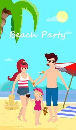 Happy Family at Beach Party. Smiling Parents with Child Stand on Sand Enjoy Cocktails on Seaside Background with Dolphins, Palms, Umbrella and Sand Castle. Cartoon Flat  Illustration, Banner Stock Photo