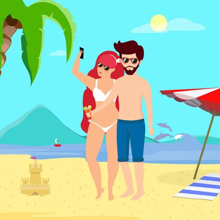 Young Loving Couple Leisure at Tropical Island. Man and Woman in Swimsuits Stand at Day Time Seaside Background Making Selfie Drinking Cocktail. Summer Time Vacation Cartoon Flat  Illustration