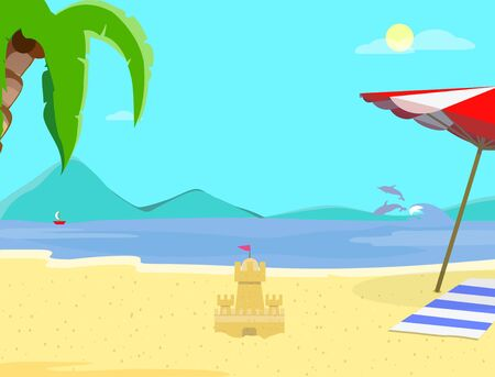 Summer Beach Background, Day Time Empty Landscape, Exotic Seaside with Sand Castle, Resort Coast Seascape, Palm Tree, Dolphins, Sailing Ship, Sandy Shore Flyer Cartoon Flat  Illustration, Banner