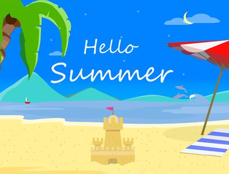 Beach Background with Hello Summer Typography and Sand Castle, Night Time Landscape of Exotic Seaside, Asian Thailand Resort Seascape Sandy Shore Poster, Flyer Cartoon Flat  Illustration, Banner Stock Photo