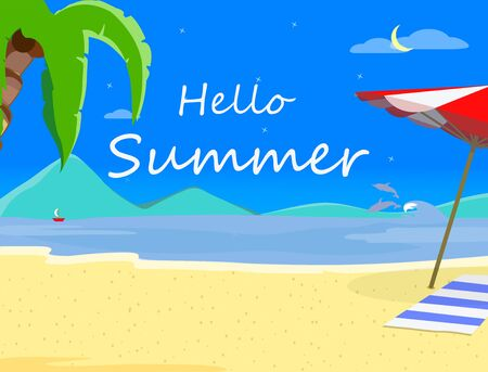 Beach Background with Hello Summer Typography and Sand Shore, Hawaii Night Time Landscape of Exotic Seaside, Thailand Resort Seascape Poster, Beach Party Flyer Cartoon Flat  Illustration, Banner