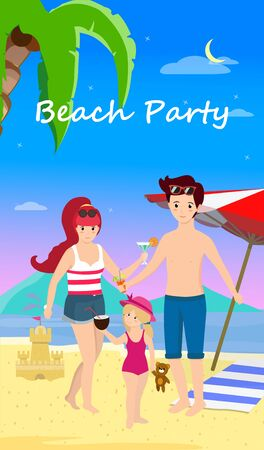 Happy Family at Beach Party. Smiling Parents with Child Stand on Sand Enjoy Cocktails on Seaside Background with Dolphins, Palms, Umbrella and Sand Castle. Cartoon Flat  Illustration, Banner 版權商用圖片