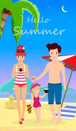 Happy Family at Beach. Smiling Mother Father with Child Stand on Sand Enjoy Cocktails on Seaside Background with Dolphins, Palms, Umbrella and Sand Castle. Cartoon Flat  Illustration, Banner